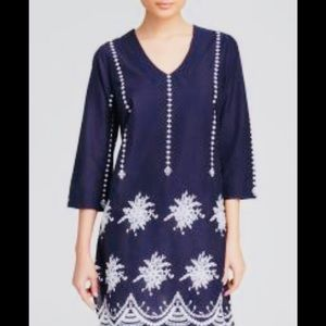 NEW MOON & MEADOW Blue Embroidered Tunic-Size Med
